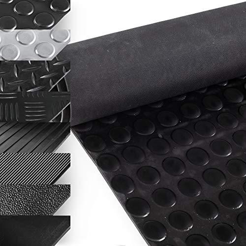 ANRO Gummimatte Schutzmatte Noppenmatte Bodenmatte mit Noppen Gummiläufer 100cm Breit 3mm stark Schwarz 100 x 100cm