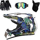 XIAOBUDIAN - Casco de motocross para adulto, unisex, para motocross, quad, niño, para Dirt Bike, MTB, MX BMX, con gafas y guantes (M, blanco)