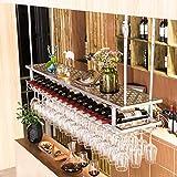 AERVEAL Estantes para Vino de Techo con Colgador para Tazas Soporte para Vino Colgante de Metal Accesorios para Vino 2 Niveles Al Revés Soporte para Botellas Colgante Estante de Vidrio para Barra Est