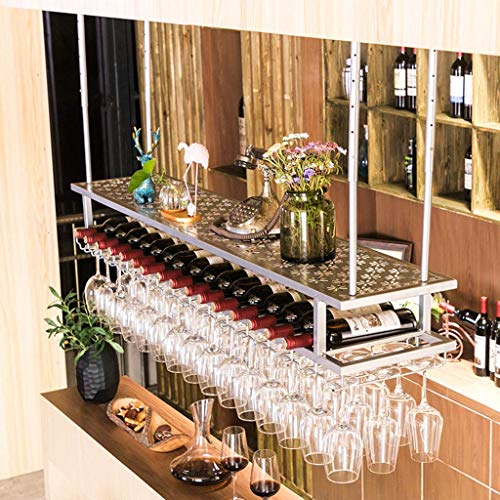 MTYLX Estante de Vino, Soporte de Exhibición, Gabinete de Vino, Estante de Vino Industrial de Techo con Colgador de Taza Soporte de Vino Colgante de Metal Accesorios de Vino 2 Niveles Al Revés Soport