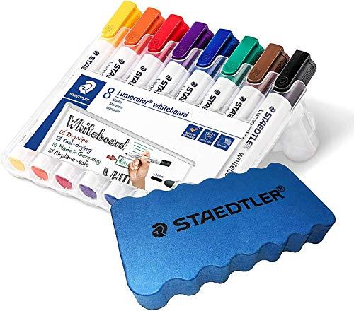 Staedtler Lumocolor 351 WP8 Whiteboard-Marker (Rundspitze ca. 2 mm Linienbreite, Set mit 8 Farben (1 Pack, Löscher)