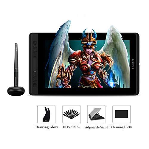HUION Kamvas Pro 13 Tableta Grafica con Pantalla, 13,3 Pulgadas Tableta Grafica Dibujo con Función de Inclinación de ± 60 °, Gama sRGB al 120%, Vidrio Anti reflejante, Pantalla Laminado Completo