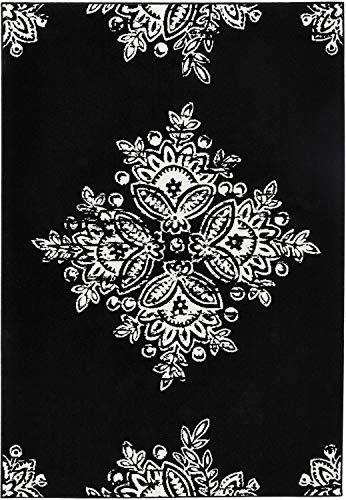 Bavaria Home Style Collection Designer Teppich Wohnzimmer Teppiche Flora Blumen Muster Look Stil Design schwarz weiß grau naturbraun beige 160 x 230 cm (schwarz-weiß)