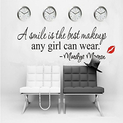 """Black 22"""" X 7"""" A Smile is The Best Makeup-Marilyn Monroe Wall Sticker Paper Quote Decal Art Décor"""