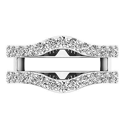 Dabangjewels 1.60 Carat (Ctw) 14K White Gold Plated Round Shaped Cubic Zirconia Ladies Wedding Enhancer Guard Double Ring