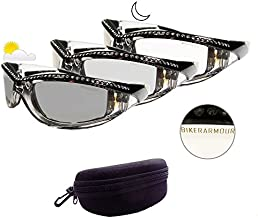 Motorcycle Day Night Transition Glasses for Women. Chrome and Black frame with rhinestones