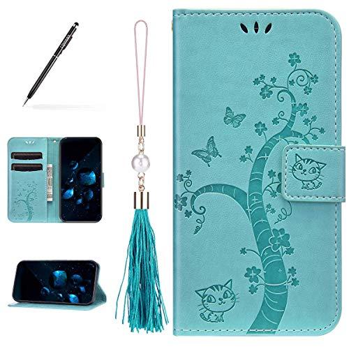 Uposao Kompatibel mit Samsung Galaxy A41 Hülle Leder Katze Baum Muster mit Quaste Anhänger Hülle Flip Schutzhülle Brieftasche Handyhülle Wallet Bookstyle Case Magnet Kartenfach,Grün