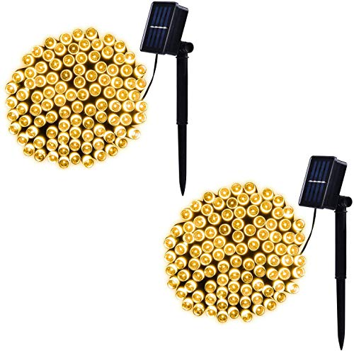 2 Pack Solar String Lights Outdoor, 42ft 100 LED 8 Modes Waterproof Fairy Lights, Decoration for Garden Tree Patio Yard Wedding Party (Warm White)