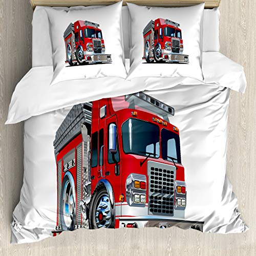 ABAKUHAUS Camion Set Copripiumino, Cartoon Style Pompiere, Decorativo, 3 Pezzi con 2 Federe Cuscini, 200 x 200 cm, Red Grigio Pallido