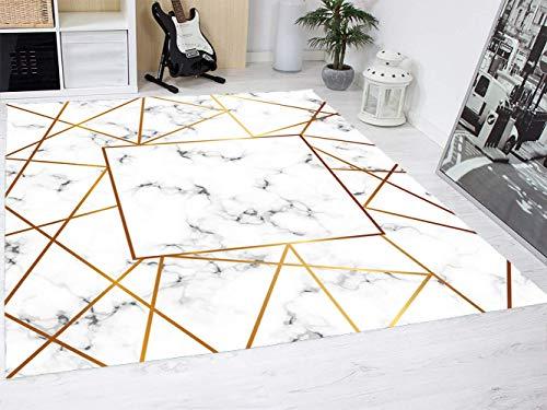 Alfombra Mármol Blanco y Dorado Suelo Habitación PVC | 95 cm x 200 cm | Moqueta PVC | Suelo vinilico | Decoración del Hogar | Diseño Moderno, Original, Creativos