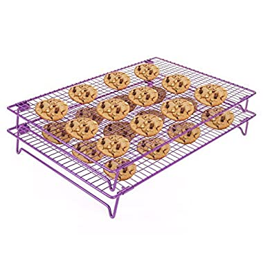 Cool The Cake Down | 2pcs Food Grade Non-Stick 17x11 inches Steel Multi-Tier Grid Wire Cooling Rack for Baking, Good for Cake, Cookie, Bread, Other Baked Food, Foldable Stable Legs, Oven Safe, Purple | 546.2