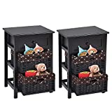 Nightstand Bedroom Set of 2 with Drawer and 2 Storage Baskets, 3-Tier Beside Table for Bedroom Living Room, Lightweight Sofa End Table, 16L x 12W x 25H, Black