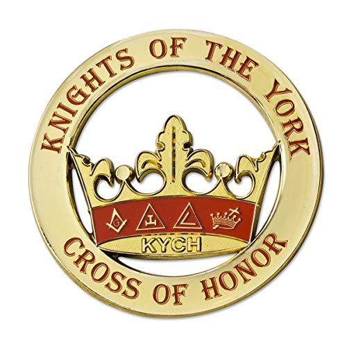 Knights of the York Round Masonic Auto Emblem - [Gold & Red][3'' Diameter]