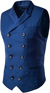 Jacket Men's Waistcoat Men's Double Breasted Business Casual Sleeveless Men's Waistcoat Autumn New Lapel Solid Color Slim ...