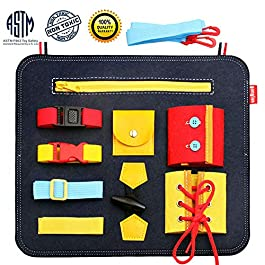 Blppldyci Toddlers Busy Board – Preschool Basic Skills Toys for Toddlers 1 2 3 4 Years Old for Fine Motor Skills & Learn to Educational Learning Toys – Sensory Toy for Airplane or Car