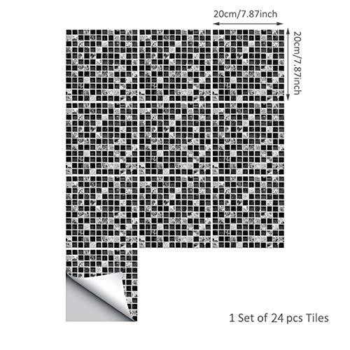 ENCOFT 24 Stück Fliesenfolie Klebefolie Fliesen Fliesenaufkleber Mosaik Fliesensticker Folie Aufkleber Sticker für Küche Bad Küchendeko (20x20cm)
