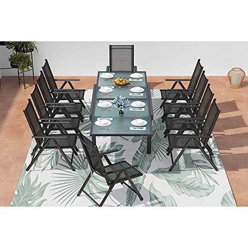 CONCEPT USINE - Salon De Jardin Design Brescia 10 Personnes Extensible Gris et Noir - 1 Table en Aluminium - 10 Fauteuils - Plateau en Verre - Rallonge Coulisse - Léger, Robuste, Imperméable, Anti UV