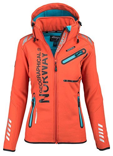 Geographical Norway Damen Softshell Funktions Outdoor Regen Jacke Sport (S, Orange)