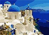Pintura por Números Para Adultos y Niños DIY Kits de Pintura al Acrílico De Lona Preimpresos Para la Decoración De La Casa - Grecia 16 * 20 Pulgadas