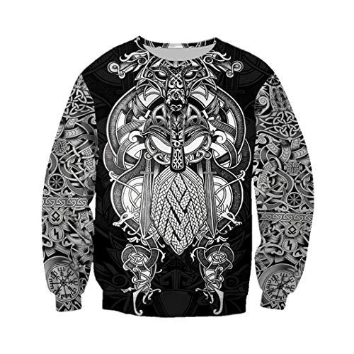 Ken-Rostisy Hombres Sudaderas 3D por Todas Partes Impresas de Viking Tatuaje Camiseta/Tapas con Capucha del Traje del chándal de Streetwear Sky Blue XXL