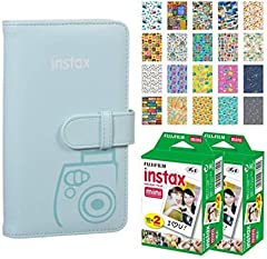 This Photo4Less Top Value Fujifilm Accessory Kit Includes: FUJIFILM INSTAX Mini Wallet Album (Ice Blue) 2x Fujifilm Instax Mini Twin Pack Instant Film (40 Exposures) - 20 Sticker Frames for Fuji Instax Prints Travel Package Protects and Stores INSTAX...