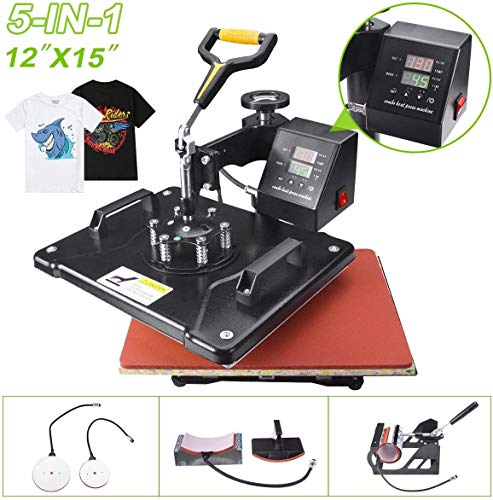 Slendor Heat Press 12x15 inch Heat Press 5 in 1 Machine 360-Degree Swing Away Digital Multifunction Sublimation Combo for T Shirts Mugs Hat Plate Cap