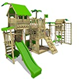 FATMOOSE Spielturm Klettergerüst PacificPearl mit Schaukel TowerSwing & apfelgrüner Rutsche,...