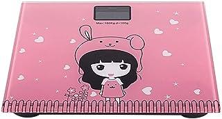 Báscula de Digital Humano Profesional Peso Corporal Escala Escala electrónica Digital doméstico Aseo Skid Escalas Lindo patrón de Dibujos Animados de Animales Duradero (Color: Rosa)