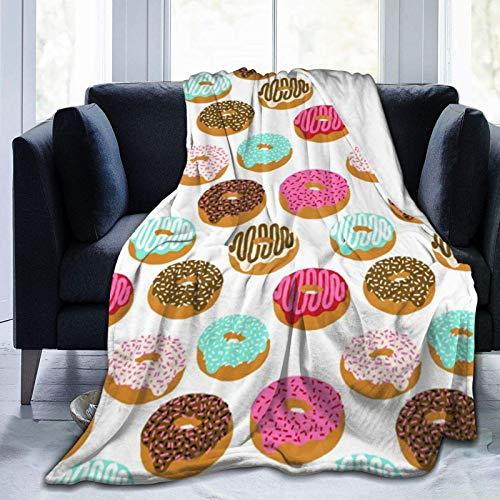 maichengxuan Überwurfdecken Schuldecke für Bett, Couch, Sofa, Stuhl, Schlafsaal, Flanell-Fleece, tragbare Decke für Kinder und Erwachsene, hält warm, süßer Donut-Bademantel