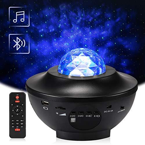 Roterende Sterlichtprojector, Delicacy Oceaangolf Nachtlichten, LED-nevelprojector Lamp, Kleur Veranderende Muziekspeler met Bluetooth&Timer&Afstandsbediening, Kinderen Volwassenen Kamer Woondecoratie
