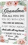 Light Autumn Grandma Gifts - Hangable Canvas Poem for Grandma - Grandma Floral Style