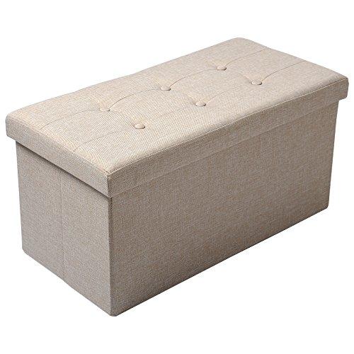WOLTU Sitzhocker mit Stauraum Sitzbank Faltbar Truhen Aufbewahrungsbox, Deckel Abnehmbar, Gepolsterte Sitzfläche aus Leinen, 76x37,5x38 cm, Beige, SH32cm