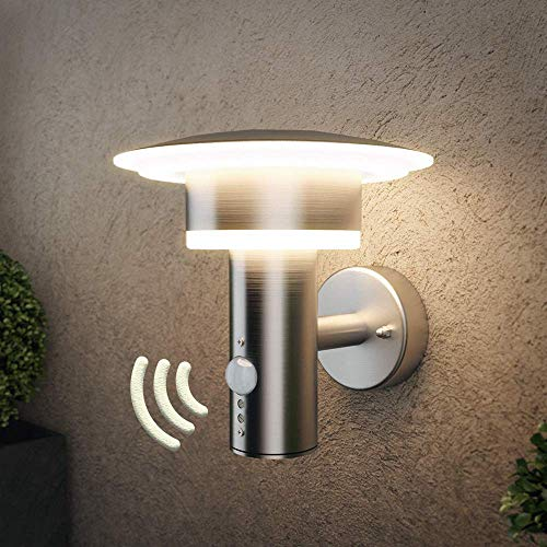 NBHANYUAN Lighting LED Outdoor Wall Light Fixtures with PIR Sensor Exterior Wall Sconce Silver Stainless Steel Weatherproof 3000K Warm Light Front Door Porch Light 110V 1000LM [Energy Class A+]