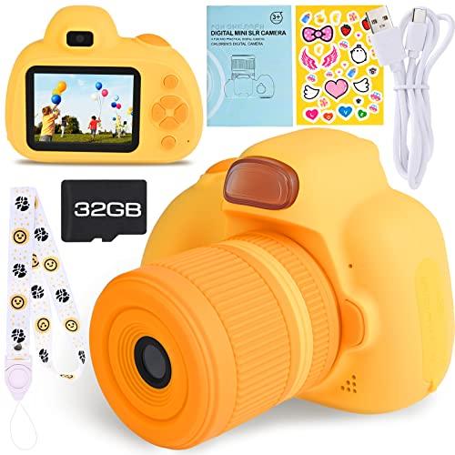 Faburo Cámara de fotos para niños con tarjeta SD de 33 GB, cámara de fotos para niños, portátil, digital, digital, digital, para niños, videocámara, regalo de cumpleaños para niños (rosa)