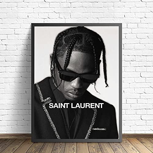 Negro Blanco Moda Cool Gafas de sol Travis Scott Rap Music Hip Hop Star Singer Lienzo Pintura Arte de la pared Póster Dormitorio Studio Club Decoración para el hogar Mural