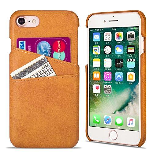 QLTYPRI Funda para iPhone 7 Plus, funda para teléfono móvil con tarjetero, de piel sintética de poliuretano duro, carcasa trasera ultradelgada, antigolpes, para iPhone 7 8 SE 2020 Plus, color marrón