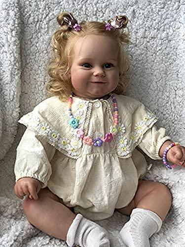 Pinky Reborn Poupée Bébé Reborn 24 Pouces 60cm New Reborn Maddie Girl Doll avec des Cheveux Blonds Enracinés Soft Cuddle Body Toys