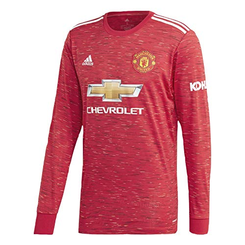 Mens Manchester United Home Long Sleeve Soccer Jersey 2020-21 (Large)
