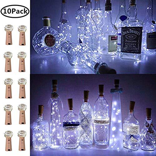 Luci per bottiglie di vino con sughero, 10 pezzi, a batteria, a LED, a forma di sughero, colore argento, per fai da te, feste, decorazioni, matrimoni, interni ed esterni (bianco freddo)