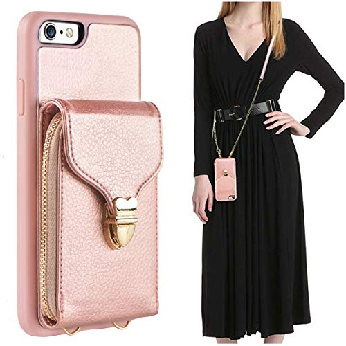 iPhone 6 Wallet Case, JLFCH iPhone 6S Crossbody Leather Zipper Wallet Case with Card Slot Holder Lanyard Buckle Closure Detachable Wrist Strap Chain for Apple iPhone 6/6S 4.7 inch - Rose Gold