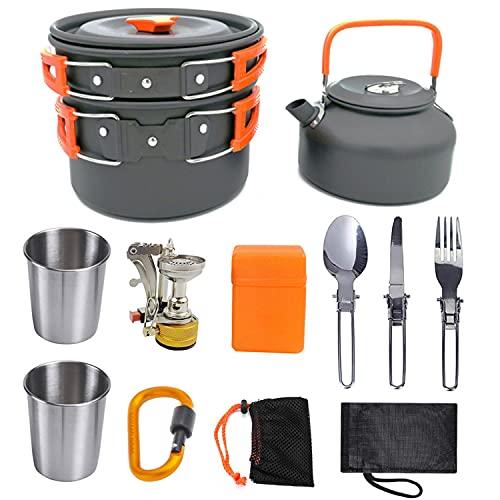 QAIYXM Cookware Kit Picnic Ollas Cocina Camping Juego de vajilla para 2 – 3 Personas con 1 pote Grande/sartén / 1 Tetera / 2 Tazas de Acero Inoxidable, para Camping Outdoor Senderismo Picnic BBQ