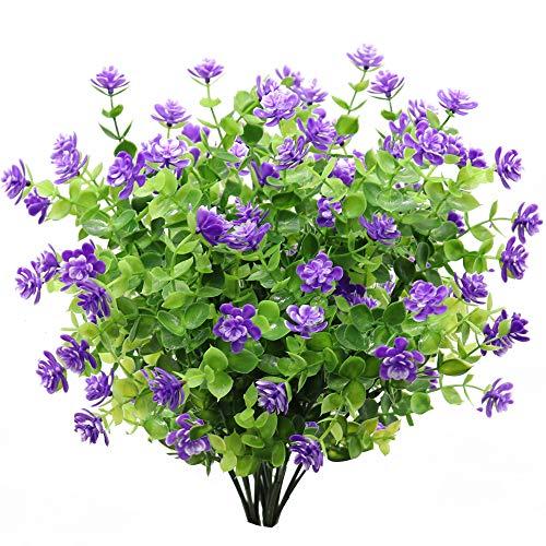 GKONGU Flor Artificial 4 Piezas Ramo de eucalipto Plantas Verdes, Flores Falsas de eucalipto Resistente a los Rayos UV para Interior al Aire Libre hogar Oficina jardín decoración de la Boda (Azul)