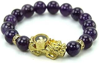 Amulet Bangle Bracelet Gem Stone Talismans PiXian with Lucky Design 4 Turbines Gold, Purple Agate Stone, Amethyst Stone 10...