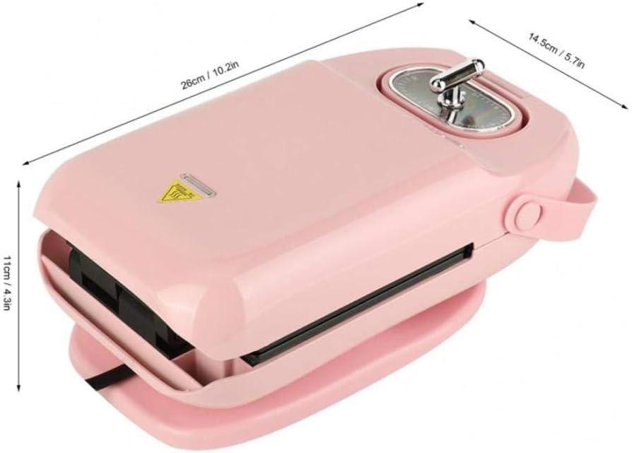 YGGY Électrique Mini Sandwich Maker Grill Panini Poêle Antiadhésive Cuisinière Gaufrier Grille-Pain Gâteau Machine À Déjeuner Barbecue Steak Four À Frire, Rose Pink