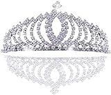 JZK Tiara Cristal Mariée Mariage Princesse Bal de Promo Diadème en Cristal Couronne de Strass pour Enfants, Filles, Adultes s'habillent, Diadème de Serre-tête en Métal Argenté en Alliage d'aluminium