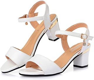 Womens Block Heels Sandals Rhinestone Open Toe Single Band Ankle Strap Slingback Dress Shoes