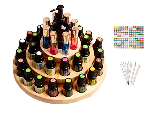 CHSEEA Drehbarer Ätherisches Öl Display Ständer Gestell Halter Organisator, 39 Löcher Veranstalter Aufbewahrung Koffer Speicher Box für Nagellack, Duftöle, Ätherische Öle, Stain und Lippenstift #5