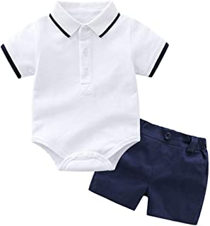 Toddler Baby Kids Boys Clothes Set T-Shirt Romper Tops Solid Short Pants Outfits Set