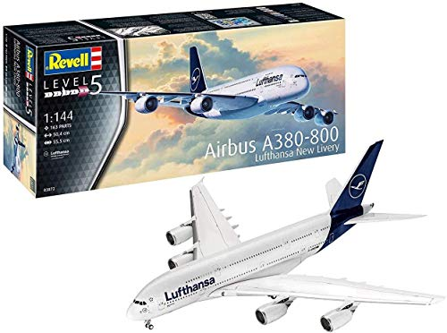 Revell 03872 Airbus A380-800 Lufthansa New Livery, 1:144 Scale Plastic Model Kit, Unpainted