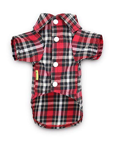 DroolingDog Dog Polo Tee Shirts Red Plaid Clothes Puppy Outfit for Medium Dogs, Large